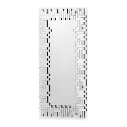 """ZUO - Shard Mirror - Like a mod game of reflective Tetris, the Shard Mirror is the answer to """"How do I make my wall look better?"""" and """"Does this skirt work with this sweater?"""" Made of oblongs in a stunning Jenga configuration, this mirror works in the hall by the door or hung sideways over the fireplace. Comes with dual wires for multiple hanging options."""