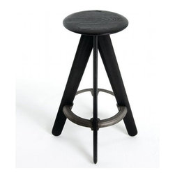 Tom Dixon - Slab Bar Stool   Tom Dixon - Design by Tom Dixon, 2009.The Slab Bar Stool is a wooden bar stool incorporating a cast iron ring to reinforce the base. The Slab furniture collection is made from solid lacquered oak, and the surface is deeply brushed to expose the grain.