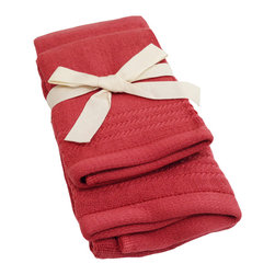 SHOO-FOO - Bamboo Guest Towels 2-pcs Set - 600 gsm, Cayenne Red, 1 Set - Made of soft and absorbent 100% viscose from Organic Bamboo at 600g/sq meter, this 2-pcs guest towels set makes the perfect towel set for keeping in the bathroom and using every day. The fresh qualities of bamboo fibers make it perfect for frequent hand and face drying.