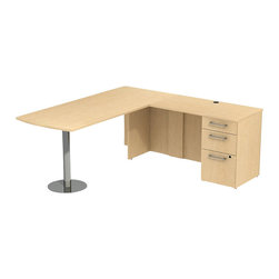"Bush - Bush 300 Series 72"" L-Shape Penisula Desk in Natural Maple - Bush - Commercial Grade Office - 300S042AC - Sleek lines and ultimate placement versatility is what defines the Bush Natural Maple 300 Series 72""W x 30""D Peninsula Desk with 42""W Return and Pedestal (B/B/F). Desk's narrow profile offers roomy workspace yet fits in the tightest places. The 42"" Return is supported by a brushed aluminum leg and base so you can stretch out comfortably. Three B/B/F drawers keep necessary papers, documents or office supplies at your fingertips. File drawer, on full-extension ball bearing slides, accommodates letter- legal or A4-size files. Wire grommets hide unsightly cords and cables, keeping surfaces clutter-free. Rich, Mocha Cherry finish lets you fashion a complete office suite that matches most decor. Outfit any-size office space with total configuration flexibility. Tough, rugged work surfaces resist scratching, stains, dings and dents. Includes BBF Limited Lifetime warranty."