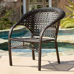 Best Selling Home Decor - River All-Weather Wicker Outdoor Dining Chair - Set of 2 Multicolor - 235977 - Shop for Chairs and Sofas from Hayneedle.com! The classic look that you love in wicker gets a 21st century update giving you the appealing and durable design of the River All-Weather Wicker Outdoor Dining Chair - Set of 2. This set of two all-weather chairs begins with an iron frame that combines elegant curves with a rugged lightweight design that's covered in durable resin wicker. Unlike traditional organic wicker resin wicker has a synthetic component that makes it resistant to cracking weathering and rot for year-round outdoor use. The curved back and rounded edges add the comfort that you need to the wide seat and sloping arms.About Best Selling Home Decor Furniture LLC Best Selling Home Decor Furniture LLC is a US-based company dedicated to providing you with a wide variety of fine furniture. With sales and manufacturing offices in Europe and China as well as the ability to ship to anywhere in the world no one is excluded from bringing these lovely pieces home. From outdoor to indoor furniture children's furniture to ottomans and home accessories all your needs will be met with attractive high quality products that will last.