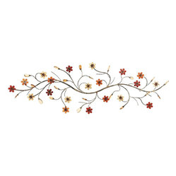 Benzara - Metal Wall Decor with Flowers Loaded Twig - Metal Wall Decor creates a feeling of having something unique because of its unique natural design concept. It is appreciated by all the visitors. This is an excellent anytime low priced anytime wall decor upgrade option. Designed exclusively for limited edition, it can be fixed on any kind of wall surfaces.