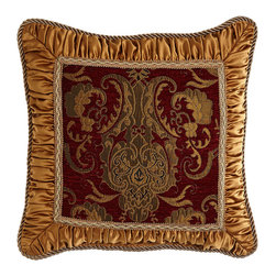 """Austin Horn Classics - Pillow with Shirred Gold Frame 18""""Sq. - SCARLET - Austin Horn ClassicsPillow with Shirred Gold Frame 18""""Sq."""