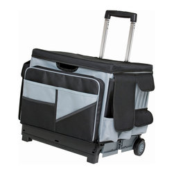 Ecr4kids - Ecr4Kids Kids Memory Store Sectional Organizer Cover-Black/Gray - The canvas saddlebag-style MemoryStor Organizer Cover can be easily added to or removed from the MemoryStor Universal Rolling Cart or any large folding cart. Features over 46 different storage compartments. Pockets have zipper and hook & loop closures for securing supplies and files during travel.