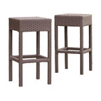 Great Deal Furniture - Rudolfo 2-pc Outdoor Backless Bar Stools - The Rudolfo bar stools will bring style and convenience to your outdoor space. Made from PE-wicker material, these durable stools feature a backless seat and the brown finish is neutral to match any outdoor decor. These stools will hold up in any weather condition with little maintenance. Whether in your backyard, patio bar, or deck, you will enjoy these stools for years to come.