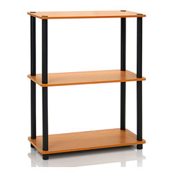 Furinno - Light Cherry Three-Tier Multipurpose Shelf Display Rack - Organize your living space with this sleek and sturdy display rack that features a clean, contemporary appearance and generous shelf space for easy storage and decoration.   Weight capacity: 25 lbs. per shelf 23.6'' W x 29.6'' H x 11'' D Medium-density fiberboard / plastic Assembly required Imported