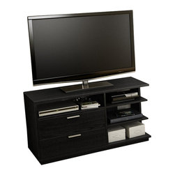 South Shore - South Shore Equi Contemporary Style TV Stand in Black Oak - South Shore - TV Stands - 4447675 - This Equi TV stand in black oak finish is characterized by its asymmetric look for an original contemporary design. It features 4 open storage spaces divided by two fixed shelves and 2 practical drawers equipped with metal slides and elegant metal handles in a matte Nickel finish. The open back allows easy management of cables and effective venting for components. It accommodates televisions up to 48-inch and can support up to 100 pounds. Combined with the Equi bookcase will certainly add a bold touch to your living room. New and improved drawer bottoms made with wood fiber. The back surface is not laminated. Manufactured from certified Environmentally Preferred laminated particle panels. Complete assembly required by 2 adults. Tools are not included.  5-Year limited warranty.