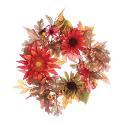 "Oddity - Oddity Christmas Party Decoration 6"" Fall Sunflower Candle Ring - Fall oranges, reds and greens combine on leaves and sunflowers to create the perfect floral home accent."