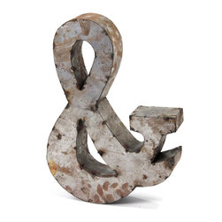 """Metal Ampersand & Symbol, Small - The ampersand symbol is a standout, with its graceful flow """"&"""" swooping curves. You'll appreciate the intentionally weathered exterior of this metal art piece, proving the classic character has stood the test of time."""