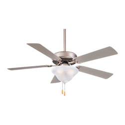 "Minka Aire - 52"" Contractor 5 Blade Ceiling Fan - The most economical and effective light combination for your home. Die-cast zinc blade irons provide a maximum in strength. With a three speed pull chain switch, you can easily adjust the level of air cirCULation in your favorite room. Features: -Ceiling fan.-Etched Swirl glass light kit.-12 Degree blade pitch.-Five blades.-Three speed pull chain switch.-Pre-installed one-piece motor blade iron gasket.-Motor size: 153 mm x 13 mm.-RPM high is 168, low is 67.-Light kit (included).-Cap for non-light use (included).-Contractor collection.-NOTE: Ceiling Fans are not universal. Warranty is void if products from two different manufacturers are combined. Energy Guide Information:.-Collection: Contractor.-Distressed: No.Specifications: -Uses two 100W medium base bulbs (not included).-Product Air Flow: 4827 Cubic Feet Per Minute.-Electrical Usage: 54.61 Watts.-Air Flow Efficiency: 88.39 Cubic Feet Per Minute Per Watt.Dimensions: -4' Downrods (uses 0.75' I.D. DR5 series downrod).-80' Lead wire.-Hanging weight: 20 lbs.-Overall dimensions: 19.25' - 23.25' H x 52' W.-Overall Product Weight: 18.48 lbs..Warranty: -Limited lifetime warranty."