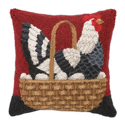 "Peking Handicraft - Chicken In A Basket Hooked Pillow - Animal lovers will adore this charming Stephanie Stouffer pillow. This pillow is predicted to be a big seller. Be sure to get your order in early! The front is hand hooked from 100% wool, and the back is crafted from plush cotton velveteen fabric with a sturdy zipper revealing a full, soft poly-fill insert. Purchase several of our farm to table pillows to infuse your home with charm and character! Pillow measures 16""SQ."