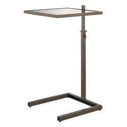 Robert Abbey - Doughnut Side Table, Deep Patina Bronze - Introducing the thinking person's side table — the ideal addition to your favorite modern setting. It doesn't just look great, with its smoked glass top and sleek metal frame, it's adjustable — you can size the height to suit. See, we said it was smart!