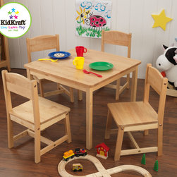 Kidkraft - Kids Table Set Kidkraft Farmhouse Table and 4 Chairs - KidKraft's Farmhouse With Table and 4 Chair Set which provides kids with a good space for playing board games, working on homework and many more.