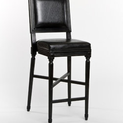"""Zentique Inc. - French Bar Stool in Antique Black - Features: -Color: Black. -Material: Antique leather. -French style. -Dimensions: 47"""" Height x 17"""" Width x 19"""" Depth."""