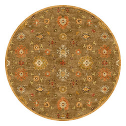 Jaipur Rugs - Transitional Oriental Pattern Beige /Brown Wool Tufted Rug - PM14, 8'RD - The Poeme Collection takes traditional designs and re-invents them in a palette of modern, highly livable colors. Each design is made from premiere hand-spun wool and crafted with precision for the look and feel of a hand-knotted rug, at the more affordable cost of a hand-tufted. Poeme will effortlessly coordinate individual design elements to finish any room.