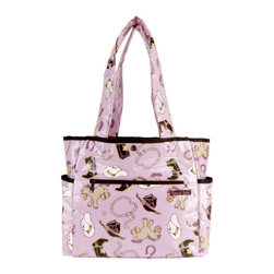 """Trend Lab - Diaper Bag - Rodeo Princess Tulip Tote - Hit the road equipped and in style with this Rodeo Princess Tote Bag by Trend Lab. Laminated bag features a cowgirl themed scatter print in chocolate, maple, cream and violet with touches of dreamsicle orange and caramel on a soft orchid background throughout the outside body with a chocolate, violet and maple bandana print inside. Outside of the bag has two side bottle pockets, a front zippered pocket and a wide Velcro closure pocket on the back. Inside, four pockets and large mesh divider keep all your travel necessities organized. Snap closure keeps inside contents secure. Removable, coordinating changing pad included. Bag measures 14"""" x 12"""" x 6"""" with 22"""" straps."""