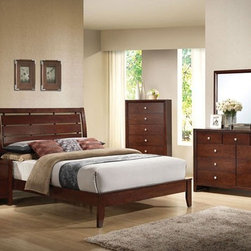 Acme Furniture - Ilana Brown Cherry 5 Piece King Bedroom Set - 20397EK-5Set - Set includes Eastern King Bed, Dresser, Mirror, Nightstand and Chest