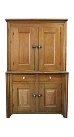 "Upper Canada Kitchen Cupboard - Another amazing find. This antique cupboard comes from Ottawa Valley in Ontario. An all handmade kitchen cupboard. This cupboard is one piece and stands an impressive 75"" tall. Top of cupboard is 40""x47""x13.5"" with two fixed shelves. Bottom of cupboard is 35""x 47""x19"" with one fixed shelf. There are also two 7""x 5"" drawers. - See more at: http://www.charlieford.com/store/public/product/1106-upper-canada-kitchen-cupboard#sthash.vqkX9IQ7.dpuf"