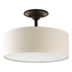 Progress Lighting - Progress Lighting Inspire Semi Flush Mount Ceiling Light X-02-9393P - Updated traditional with gracious flowing oval arms. Back to basics design styling. Off-white linen drum shades. White Acrylic diffuser.