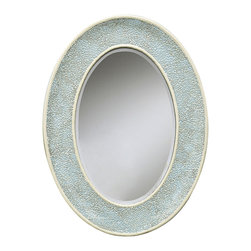 Kathy Kuo Home - Light Turquoise Blue Coastal Beach Oval Decorative Mosaic Mirror - Here's proof that subtle elegance is powerful:  a beautiful oval mirror adorned in a delightful robins egg blue mosaic frame. Traditional techniques evoke Asian and Mediterranean influences, making this a timeless transitional piece.