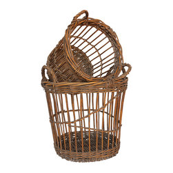 White x White - White x White French Bushel Baskets, Set of 2 -