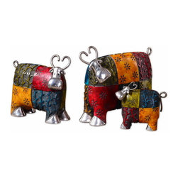 Uttermost - Uttermost 19058  Colorful Cows Metal Figurines, Set/3 - These whimsical accessories are made of metal and finished in multiple tones of green, red, blue, and orange with silver plated metal accents. sizes: sm-5x5x2, med-8x7x4, lg-10x8x4