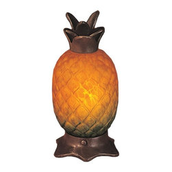 Meyda Tiffany - Meyda Tiffany Pineapple Accent Lamp X-89321 - The unique pineapple shape creates a whimsical tropical feel to this Meyda Tiffany accent lamp. The warm golden yellow tones of the art glass shade features a touch of green at the base, hinting that this pineapple needs just a touch more time to finish ripening. A leafy finial and base feature a bronze-toned finish to complete the look.
