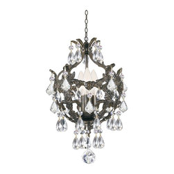 Crystorama - Mini Chandelier Accented with Polished Crystal - Legacy collection mixes the warm tones of the English bronze wrought iron and clear crystal accents.