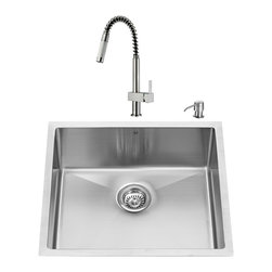 "VIGO Industries - VIGO All in One 23-inch Undermount Stainless Steel Kitchen Sink and Faucet Set - Add some sophistication to your kitchen with a VIGO All in One Kitchen Set featuring a 23"" Undermount kitchen sink, faucet, soap dispenser, matching bottom grid and sink strainer."