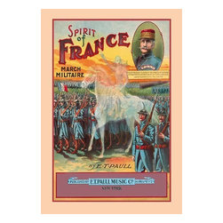 """Buyenlarge.com, Inc. - Spirit of France: March Militaire- Fine Art Giclee Print 24"""" x 36"""" - Edward Taylor Paull (1858 - 1924) was a prolific publisher of sheet music marches. His songs gained acclaim more from the cover art of the sheet music than often from the lyrics and tune."""