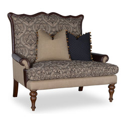 A.R.T. - A.R.T. Ava Wood Trim Settee in Loden - Country classic style in modern appeal displayed with the Ava living room collection. With solid wood construction and comes in loden fabric finish, this living room furniture is sure to show off their elegance. Heavy button tufting for additional durability and added appeal, solid wood frames with classically designed subtle carvings. this will be a perfect fit for your existing living room furniture or complete your living room set with the whole Ava living room collection. A classy and elegant home decor!