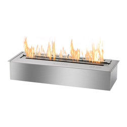 IGNIS - Ignis Bio Ethanol Fireplace Insert EB2400 - Whether you're looking for a cleaner more eco-friendly way to heat your space or want to build your own fireplace this EB2400 Ethanol Fireplace Burner Insert gets top billing. It holds seven liters of ethanol which is enough to burn for a full eight hours to keep you toasty warm and comfortable all night long. Its ventless design means that you don't need a chimney gas or electric lines to get started using it right away. This insert offers an output of 16 000 BTUs so it can heat a large area with ease. It is an attractive design that looks great in your existing fireplace and it comes with a damper tool for added convenience.