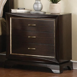 Sinatra 3 Drawer Nightstand - Sumatra - The chic contemporary design of the Sinatra 3 Drawer Nightstand – Sumatra adds a sophisticated appeal to your décor. Constructed of select veneers and solids, this piece features curving edges, decorative handle hardware, and sturdy beveled edged feet. Its three space saving drawers provide the perfect place to keep books, magazines, pens, and diaries tucked away nice and neat. With plenty of timeless appeal, this night stand is sure to make your bedroom setting complete.About Wynwood FurnitureAt Wynwood, designing unique and useful furniture is the goal. The company's own fashion consultants scour the globe for distinctive woods and eye-catching designs before bringing their findings back home to talented designers who set about creating beautiful pieces. The designs are then moved into production, where Wynwood specializes in ensuring all collections are both stunning and useful, giving every piece a thorough going-over that results in inimitable style, impeccable construction, and unequaled functionality.