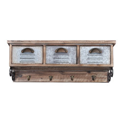 "Enchante Accessories Inc - Distressed Rustic Wood & Metal Wall Cabinet with 3 Drawers & 4 Coat Hooks - This Wall Cabinet features distressed Wood construction.3 Iron Coat Hooks to hang your coats, sweaters, hats or jewelry.Pull out DrawersPerfect for organizing your entranceway or mud room.Measures 27.2 in. x 9.7 in. x 7.1 in.An attractive and functional wall-mounted distressed Shabby Chic shelf for the home. Great for adding a touch of elegance for the home entry. These shelves are built out of pine in an antique, distressed fashion. This means that they have knots, imperfections, nail holes of the wood left in them so that they have an old appearance, even with the plain color of paint. Great for that ""worn"" look No assembly required."