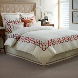 Tommy Bahama - Tommy Bahama Trellis Duvet Cover in Ivory Crimson - Transform your bedroom into a modern resort with the Trellis duvet cover. This bedding puts a tropical spin on hotel-style bedding with a bold trellis embroidery on an ivory textured base with layers of stitching, pleating, and novel embroidery details.