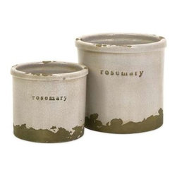 Rosemary Herb Pots - Set of 2 - Perfectly sized, this set of two rosemary herb pots is made of red clay and kiln fired to perfection. Finished in a white crackle glaze, rough edges are purposely exposed to add character.