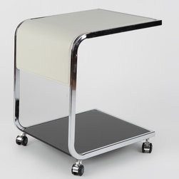 """Whiteline Imports - Jay Side Table - Modern elements of design in this side table. Features: -Chrome frame. -Off white crocodile leather top. -Black tempered glass bottom shelf. Dimensions: -Glass Thickness: 0.38"""". -Overall Dimension: 22"""" H x 19"""" W x 17"""" D, 18 lbs."""