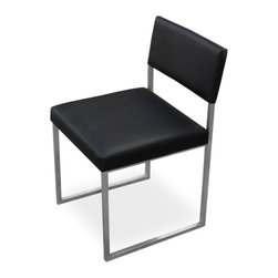 Gus Modern - Gus Modern Graph Chair Vinyl Coal, Set of 2 - Something this classic never goes out of style — so it's a good thing it's built to last. From the stainless steel frame and cushions engineered to hold their shape through the durable, top-stitched vinyl upholstery, you'll enjoy this chair for a long time.
