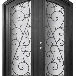"""Bellagio 72x96 Arch Top Wrought Iron Double Door 14 Gauge Steel - """"SKU#PHBFLATDR4BrandGlassCraftDoor TypeExteriorManufacturer CollectionBuffalo Forge Steel DoorsDoor ModelBellagioDoor MaterialSteelWoodgrainVeneerPrice8665Door Size Options  $Core Typeone-piece roll-formed 14 gauge steel doors are foam filled  Door StyleArch TopDoor Lite StyleArch Lite , Full LiteDoor Panel StyleHome Style MatchingMediterranean , Victorian , Bay and Gable , Plantation , Cape Cod , Gulf Coast , ColonialDoor ConstructionPrehanging OptionsPrehungPrehung ConfigurationDouble DoorDoor Thickness (Inches)1.5Glass Thickness (Inches)Glass TypeDouble GlazedGlass CamingGlass FeaturesInsulated , TemperedGlass StyleGlass TextureClear , Glue Chip , RainGlass ObscurityDoor FeaturesDoor ApprovalsWind-load RatedDoor FinishesThree coat painting process"""