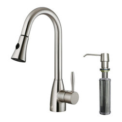 "Vigo - Vigo VG02013STK2 Stainless Steel Kitchen Faucets Single Handle Pullout - Vigo Single Handle Pullout Spray Kitchen Faucet with Soap Dispenser  Make a statement in your kitchen by adding this Vigo faucet with matching soap dispenser. Both stylish and functional, there is sure to be a Vigo kitchen faucet to meet your needs. Featuring solid brass construction and high quality components, your Vigo faucet will stand the test of time.  Included with Purchase :    Single Handle Pullout Spray Kitchen Faucet  All Mounting Hardware and Hot/Cold Water Lines  Solid Brass Self Priming Soap/Lotion Dispenser    Faucet Features :    Chrome or Stainless Steel finish with solid brass construction which ensures durability and longer life  Faucet features dual function pull-out spray head for aerated flow or powerful spray  Easy to clean spray face that resists mineral build up  Quality finish which resists corrosion and tarnishing beyond industry standards  360 degree swivel spout  High quality ceramic disc cartridge which ensures maintenance free use  Single hole installation  Single lever temperature and volume control  Certified and listed by UPC, cUPC, CSA, IAPMO, ANSI and SCC  Retractable spout expandable to 30""  Soap/Lotion Dispenser includedADA Compliant  Limited Lifetime Warranty    Soap/Lotion Dispenser Features :    Solid brass soap dispenser  Easy push self-priming dispenser  Swivels 360 degrees  Fits 1-1/2"" opening  Refillable top without removing the bottle  12 ounce reservoir  Spout reach : 3-1/2""    Product Specifications :    Standard US plumbing 3/8"" connections  Faucet height : 15-3/4""  Spout reach : 8-1/2""  Spout height : 7-1/2""  Flow rate (gpm) : 2.2 gpm"