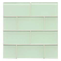 Spa Glass - Bottle 3x6 Subway Glass Tile, Light Green, 3x6, Sample - Bottle 3X6 Subway Glass Tile Sample Piece. Samples are the best way to help define your search for that perfect compliment to your color pallet. This individual 3X6 glass subway tile is perfect for building your design inspiration. We highly recommend the purchase of a sample to avoid confusion of color representations on line and to insure the tile you choose is the ideal compliment for your design. Sample is for a piece of 3X6 tile not a full square foot. MAXIMUM ORDER IS 1 TILE