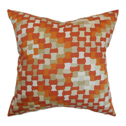 The Pillow Collection - Gaya Orange 18 x 18 Geometric Throw Pillow - - Pillows have hidden zippers for easy removal and cleaning  - Reversible pillow with same fabric on both sides  - Comes standard with a 5/95 feather blend pillow insert  - All four sides have a clean knife-edge finish  - Pillow insert is 19 x 19 to ensure a tight and generous fit  - Cover and insert made in the USA  - Spot clean and Dry cleaning recommended  - Fill Material: 5/95 down feather blend The Pillow Collection - P18-D-21044-TANGERINE-C100