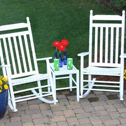 Dixie Seating - Set of 2 Rocking Chairs w Table - Solid wood. Fully Assembled. Made in the USA. Underside is unsanded