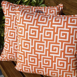 Greek Key Pillows by Anita Scasa - I love these orange Greek key pillows. The best part is that they are indoor/outdoor, so you can keep them outside until the weather gets too chilly.