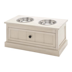 ecWorld - Malibu Solid Wood Pet Bowl Feeder With Storage Drawer - Antique White - Elevate the dining experience of a canine friend with our pet bowls and storage stand. Bring simple style and organization to a kitchen.