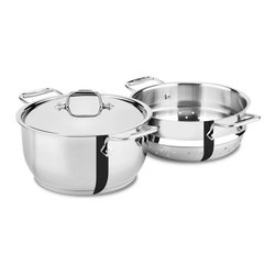 All-Clad - All-Clad Stainless Steel 5 qt. Steaming Pot (E414S564) - Timeless design, outstanding performance, effortless cleaning and lifetime durability come together to make the Stainless Collection cookware All-Clad's most popular. Featuring innovative bonded construction combining an interior layer of aluminum for even heating and an 18/10 stainless cooking surface for optimum culinary performance, All-Clad Stainless cookware is a classic expression of ideal form and function.