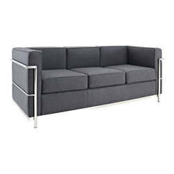 LexMod - Le Corbusier Style LC2 Sofa in Dark Gray Wool - Urban life has always a quandary for designers. While the torrent of external stimuli surrounds, the designer is vested with the task of introducing calm to the scene. From out of the surging wave of progress, the most talented can fashion a force field of tranquility.