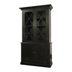 Humprey Cabinet in Distressed Black - China cabinets and display hutches can be re-purposed as pantry cabinets in kitchen. Put some of your dried goods in glass jars and display them behind glass and put the less attractive food stuff in the solid section.