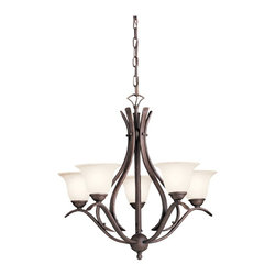 BUILDER - BUILDER Dover Transitional Chandelier X-ZT0202 - The Kichler Lighting Dover Transitional chandelier displays an update take on traditional styles. With a unique, modern twist, this chandelier features a stylish hand-wrought steel frame in a tannery bronze finish. The etched seedy glass offers bright, soft lighting to the room. This dining chandelier is a perfect d&#233:cor accent for a dining or seating area.