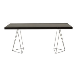 "Temahome - Multi 71"" Table Top W/ Trestles, Wenge / Chrome - Perched on polished chrome legs, this gorgeous table is sleek, simple and hard to ignore. Light and lovely, but as solid as they come, it gives you a stylish spot for dining, drafting or display."